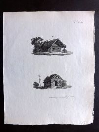 Anon C1800 Antique Print. Study of Old Houses 81